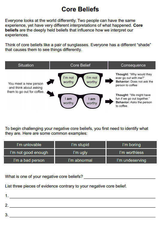 Core Beliefs (worksheet