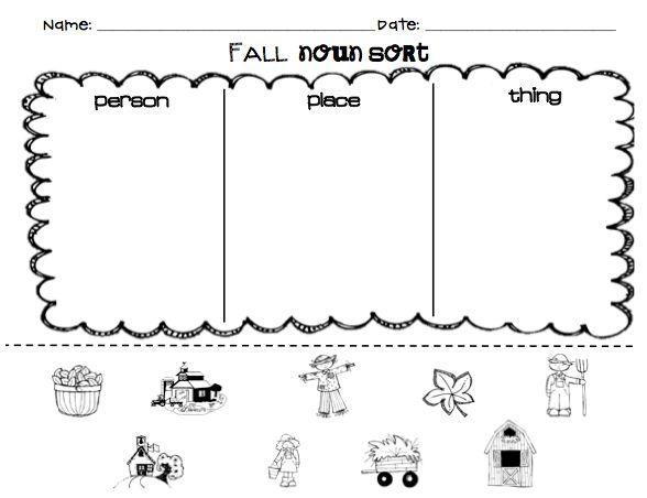 Kindergarten Noun Worksheets