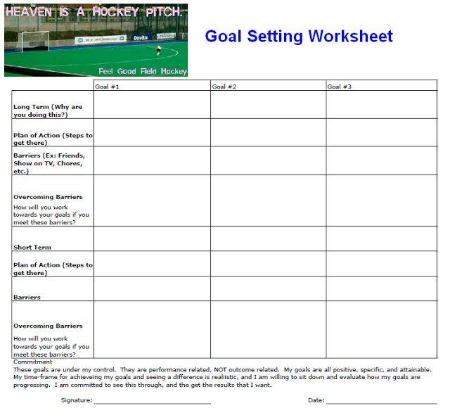 Printable Goal Setting Worksheet