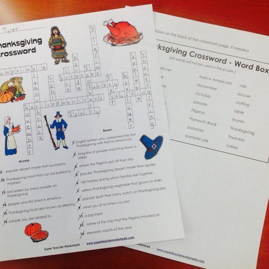 Thanksgiving Crossword Puzzle From Super Teacher Worksheets