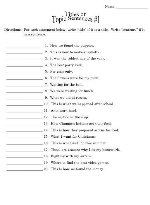 Year 4 English Worksheets Free Printable Sentences