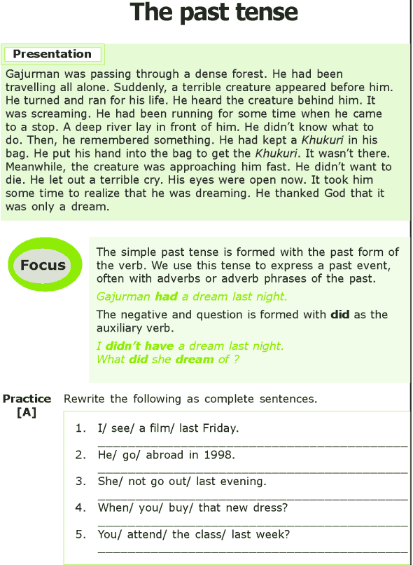 Grade 7 Grammar Lesson 2 The Past Tense (0)