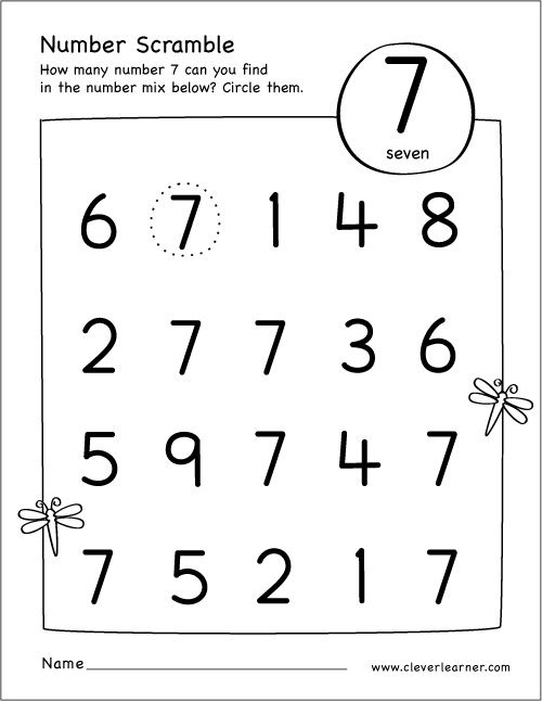 Free Printable Scramble Number Seven Activity