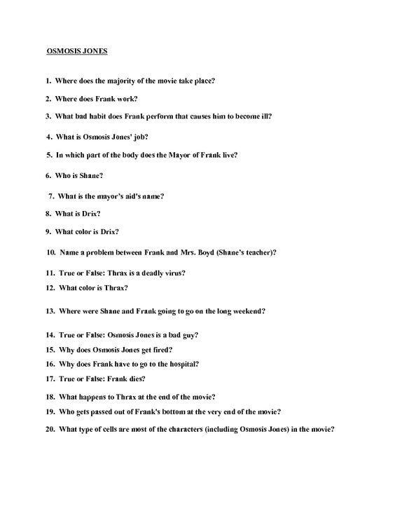 Movie Quiz  Osmosis Jones Worksheet