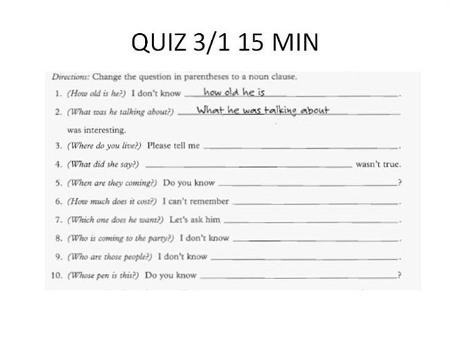 Unit 7 Lesson 2 Noun Clauses