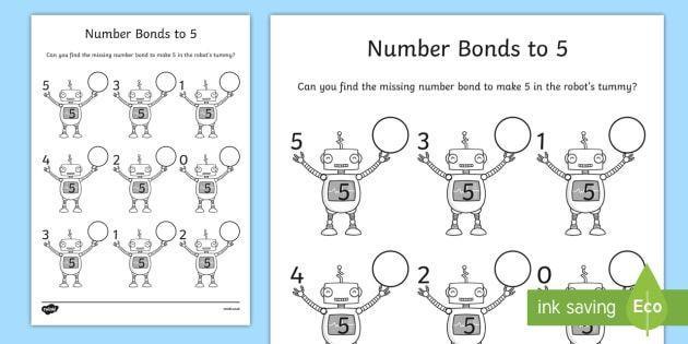 Number Bonds To 5 On Robots Worksheet   Activity Sheet