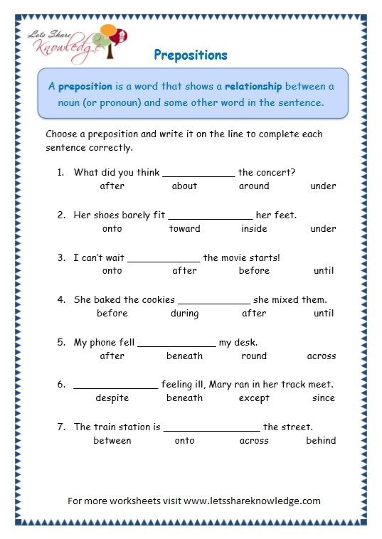 Grade 3 Grammar Topic 17  Prepositions Worksheets