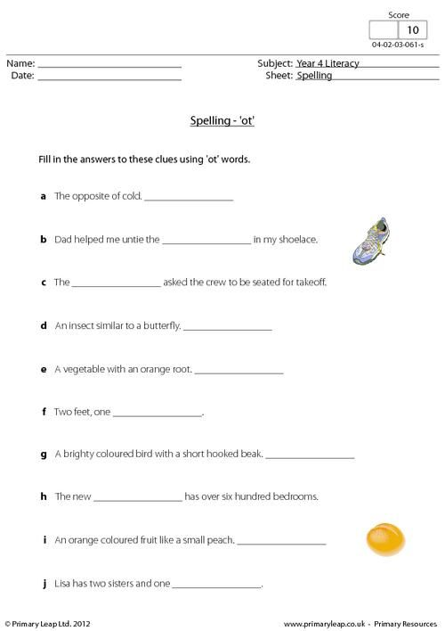 This Year 4 Literacy Worksheet Focuses On Words With 'ot