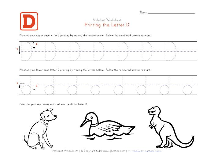 Free Printable Letter D Worksheets
