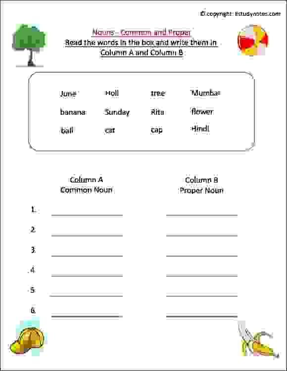 Noun Worksheet For Grade 1, Esl Worksheets For Class 1, Class 1