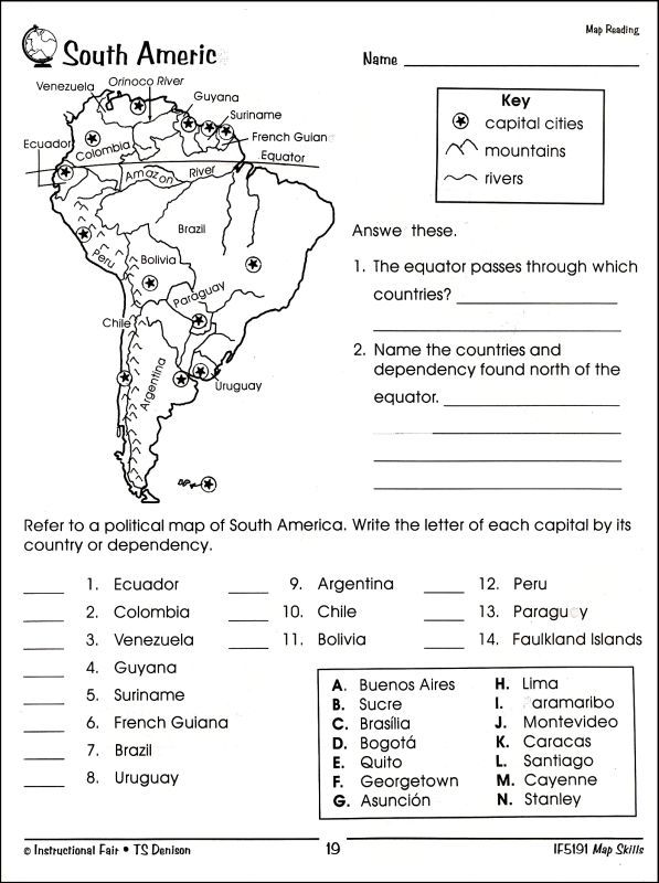 Image Result For South America Worksheets For Middle School