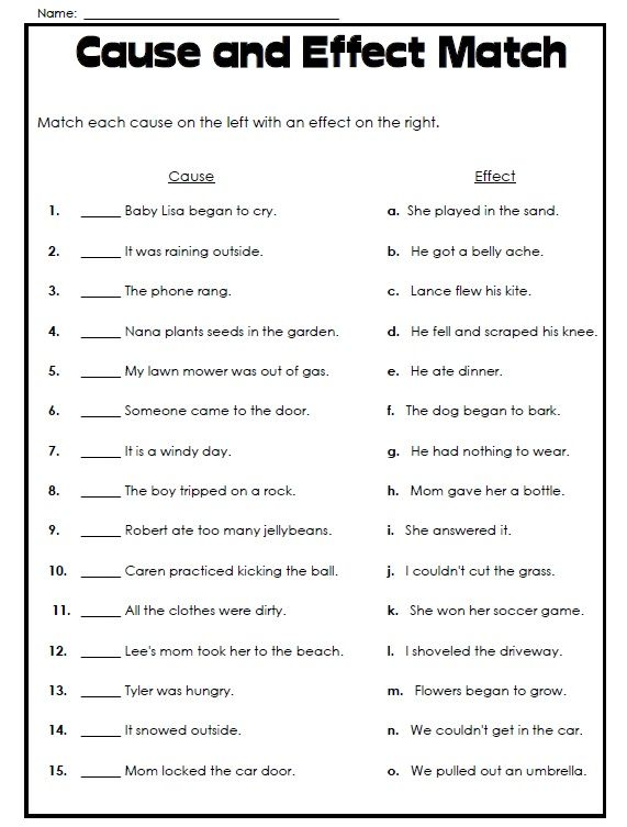 Free Printable Cause And Effect Worksheet