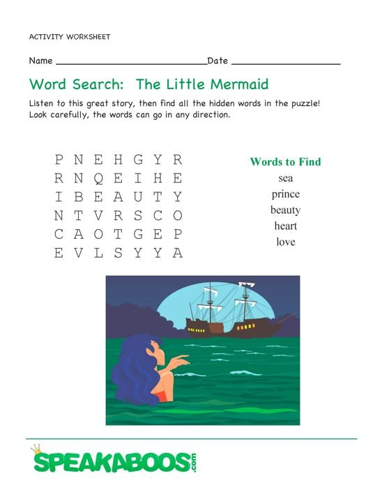 Word Search  The Little Mermaid