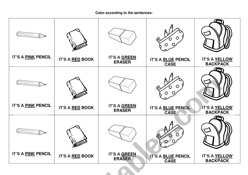 School Materials And Colors