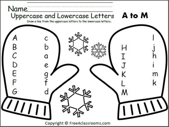 Free Mitten Match Uppercase Lowercase Letters Worksheet  Match The
