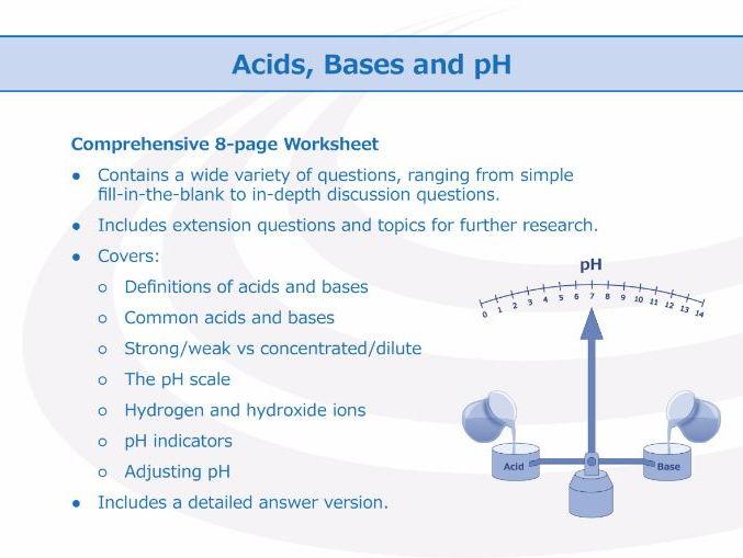 Acids, Bases And Ph [worksheet] By Goodscienceworksheets