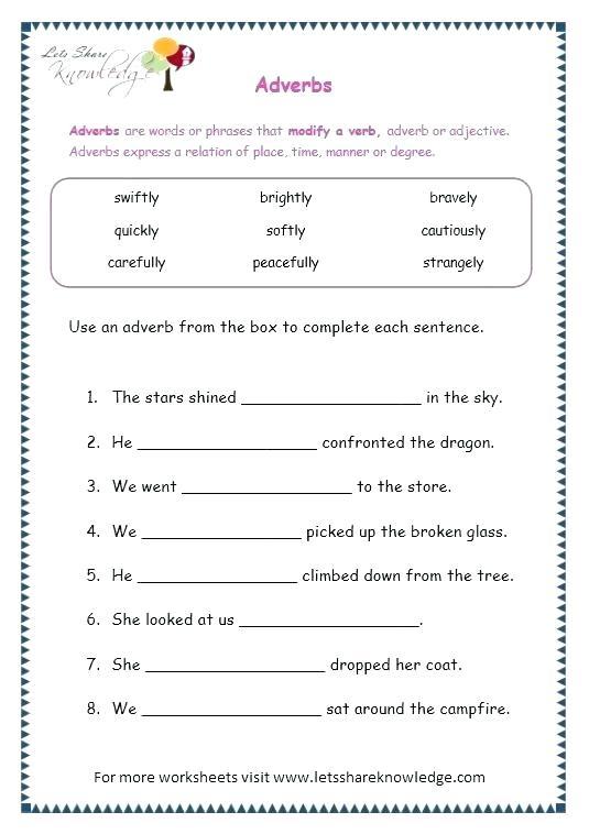 Adverbs Worksheet Identifying Adverbs Worksheet Grade Worksheets