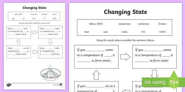 Changes In States Of Matter Worksheets