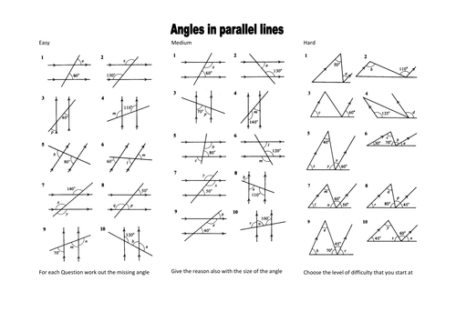 Angles And Parallel Lines Worksheet Adding And Subtracting