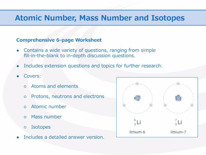 Atomic Number, Mass Number And Isotopes [worksheet] By