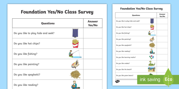 Yes Or No Class Survey Worksheet   Worksheet