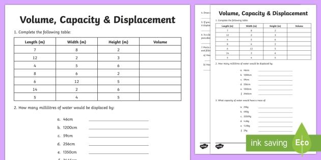 Volume Capacity Displacement Worksheet   Worksheet