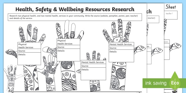 Health, Safety And Wellbeing Research Worksheet