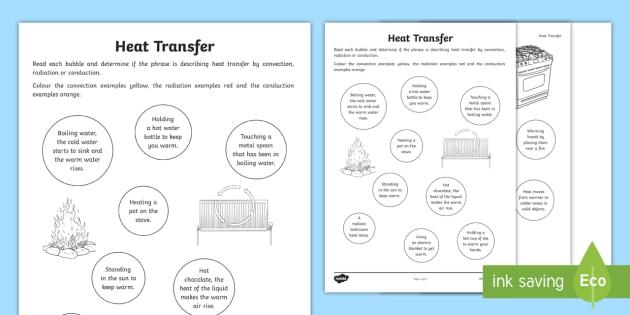 Heat Transfer Worksheet   Worksheet