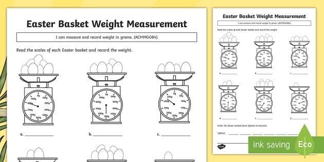 Easter Basket Weight Measuring Worksheet   Worksheet