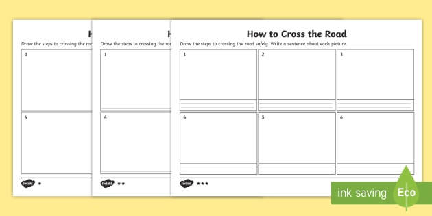How To Cross The Road Description Differentiated Worksheet