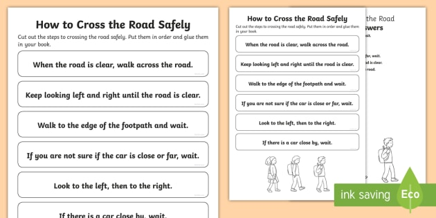 How To Cross The Road Safely Sequencing Worksheet
