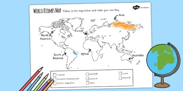 World Biomes Map Colouring Worksheet   Worksheet