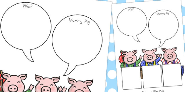 The Three Little Pigs Role On The Wall Worksheets
