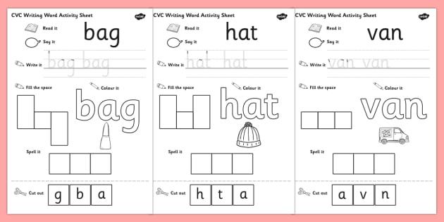 Cvc Writing Word Worksheet   Worksheet Pack A