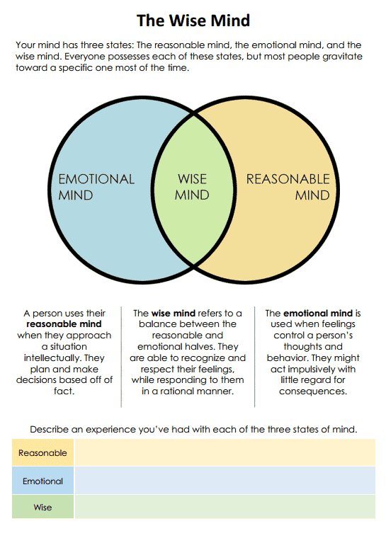 The Wise Mind (worksheet