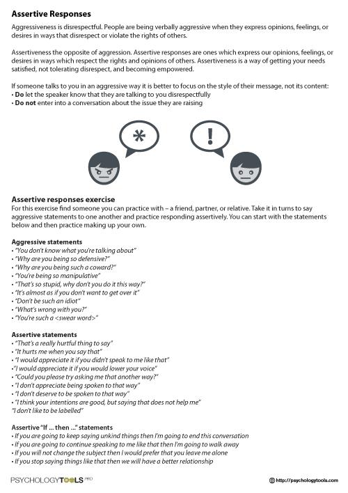 Assertive Responses Cbt Worksheet
