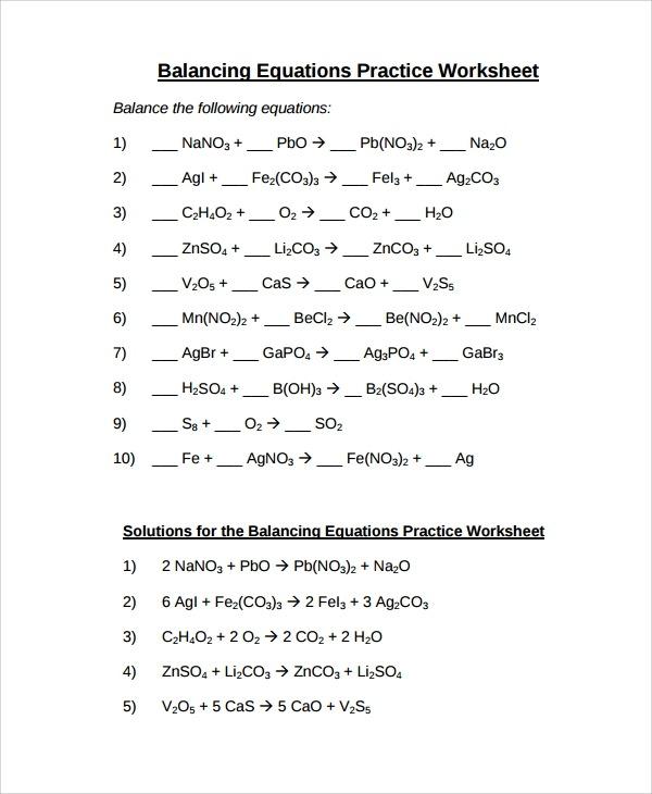 Sample Balancing Equations Worksheet Templates