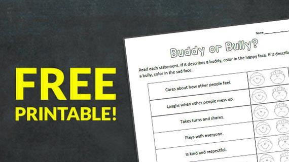 Free Printable  Buddy Or Bully  Worksheet
