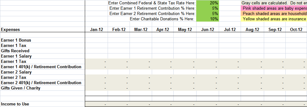 Monthly Living Expenses Worksheet