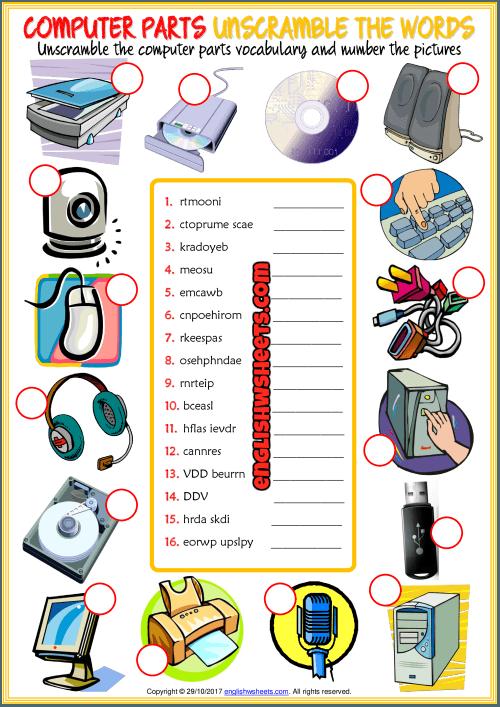 Computer Parts Unscramble The Words Esl Worksheet