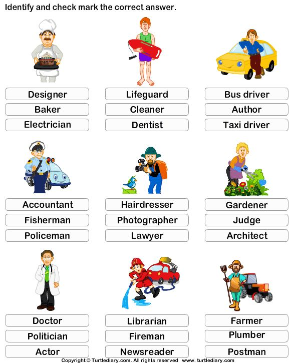 Kindergarten Vocabulary Worksheet  Identify The Job