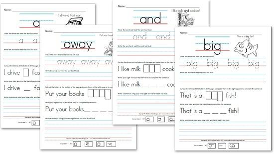 Free Kindergarten Worksheets  Sight Word Sentences (pre