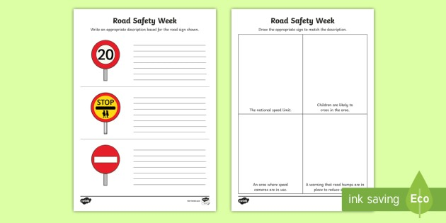 Cfe (second) Road Safety Week Identifying Road Signs Worksheet