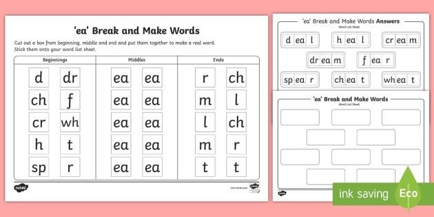 'ea' Sound Break And Make Worksheet