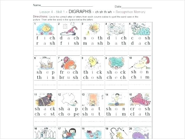 Ch Worksheets For First Grade Digraph Worksheets Amusing For First
