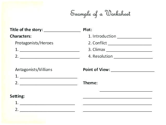 Character Setting And Plot Worksheets Protagonist Antagonist