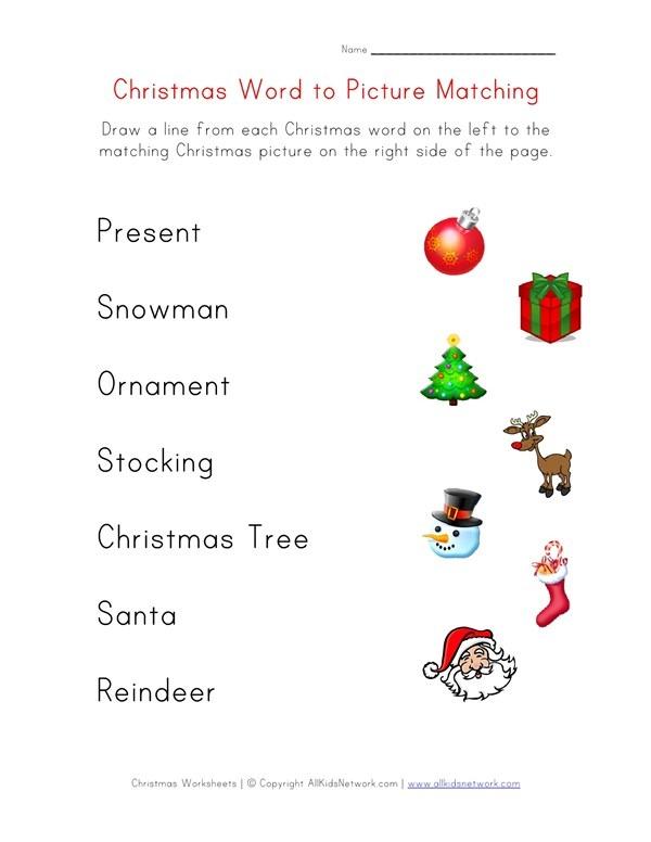 Christmas Word Matching Worksheet For Kids
