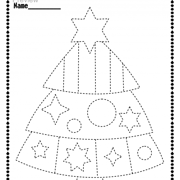 Christmas Trace And Color Pages {fine Motor Skills + Pre