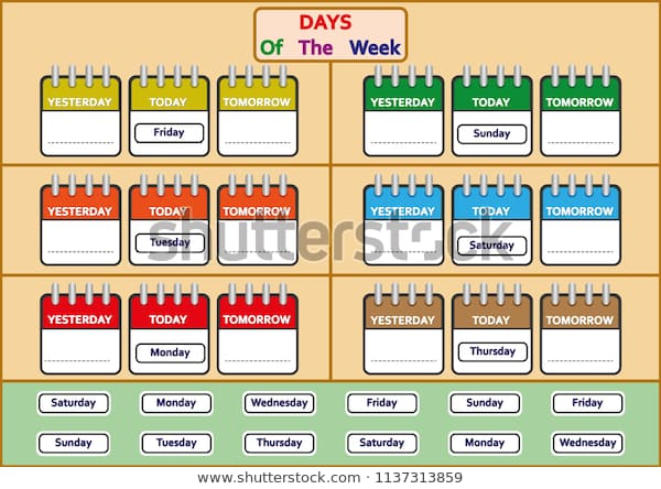 Days Week Worksheets Trace Write Days Stock Vector (royalty Free