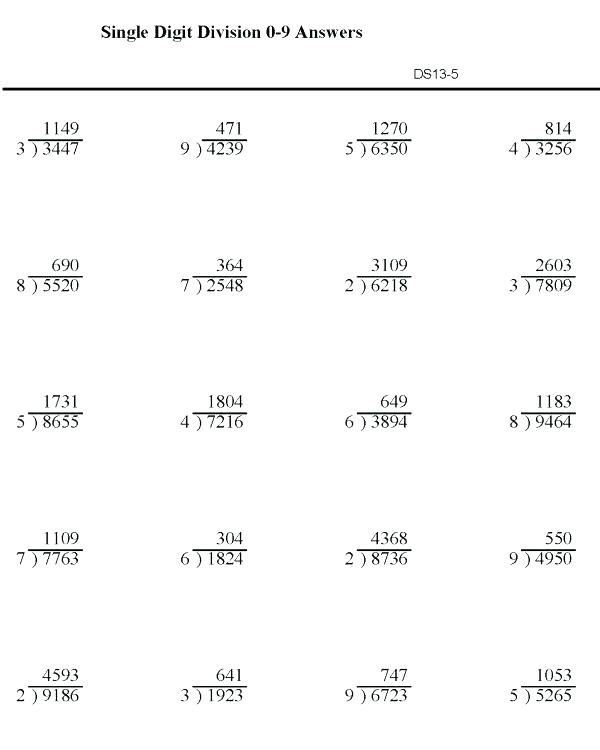 Division Practice Worksheets Grade 4 Printable Division Worksheet